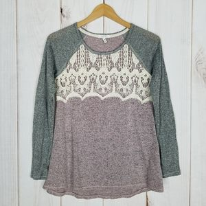 Maurices | Ivory Lace Pink Gray Knit Top - XS